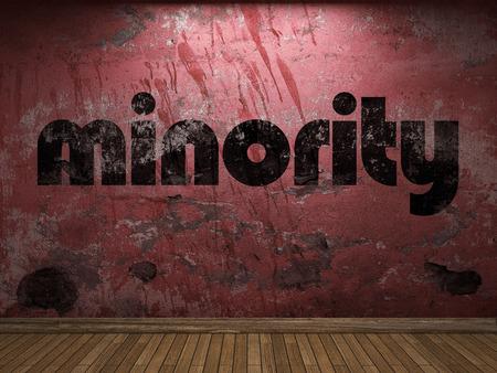 minority: minority word on red wall Stock Photo