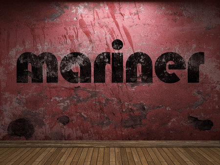 mariner: mariner word on red wall Stock Photo
