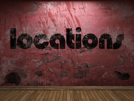 locations: locations word on red wall
