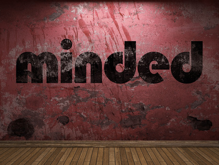 minded: minded word on red wall