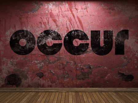 occur: occur word on red wall