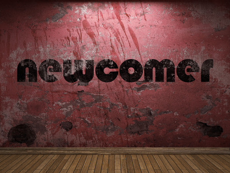 newcomer: newcomer word on red wall Stock Photo
