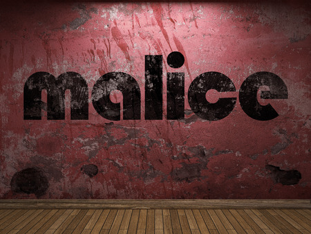 malice: malice word on red wall Stock Photo
