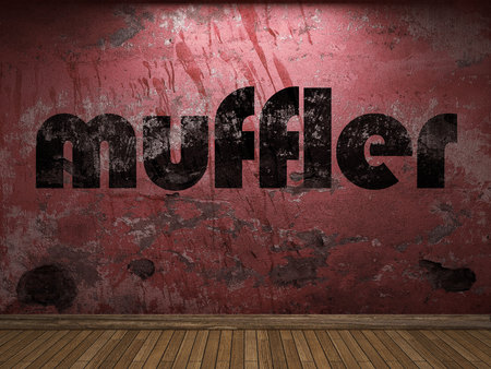 muffler: muffler word on red wall Stock Photo