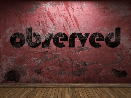 observed: observed word on red wall