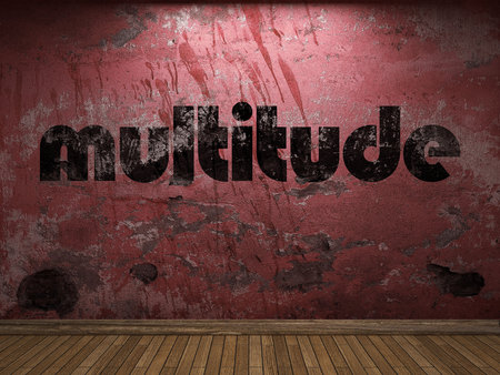 multitude: multitude word on red wall Stock Photo