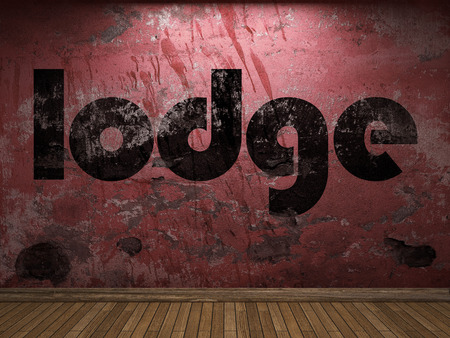 lodge: lodge word on red wall Stock Photo