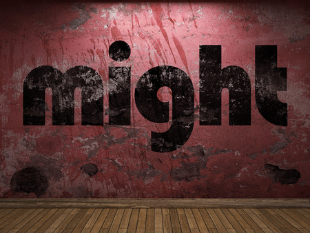 might: might word on red wall
