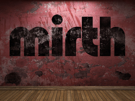 mirth: mirth word on red wall Stock Photo
