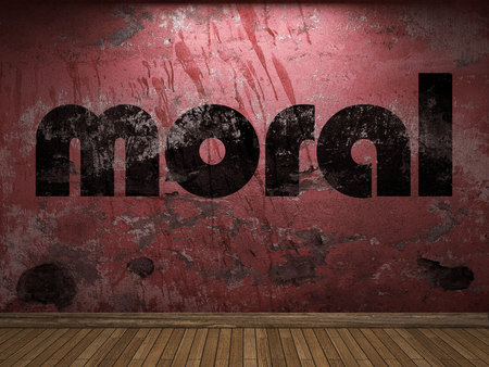moral word on red wall