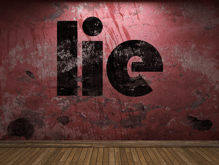 lie word on red wall