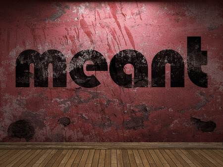 meant: meant word on red wall Stock Photo