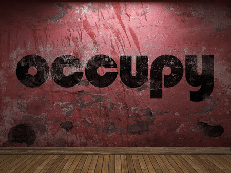 occupy: occupy word on red wall