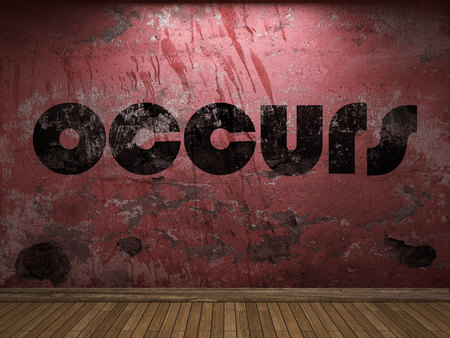 occurs: occurs word on red wall