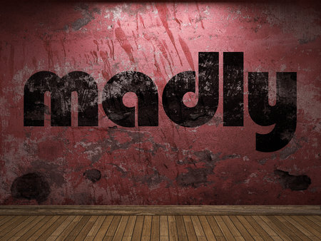 madly: madly word on red wall