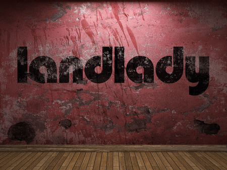 landlady: landlady word on red wall