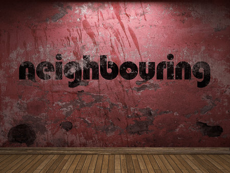 neighbouring: neighbouring word on red wall