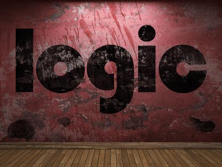 logica: palabra lógica en la pared roja