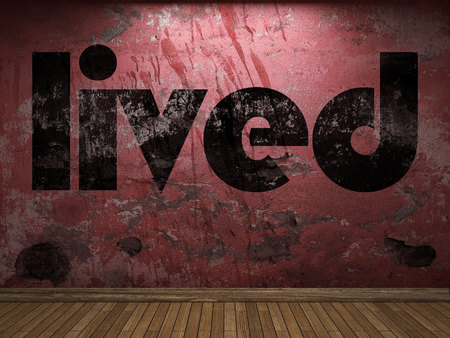 lived: lived word on red wall