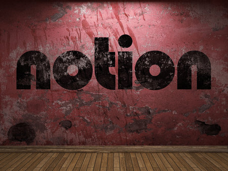 notion: notion word on red wall