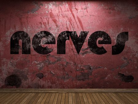 nerves: nerves word on red wall