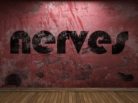 nervios: nervios palabra en la pared roja