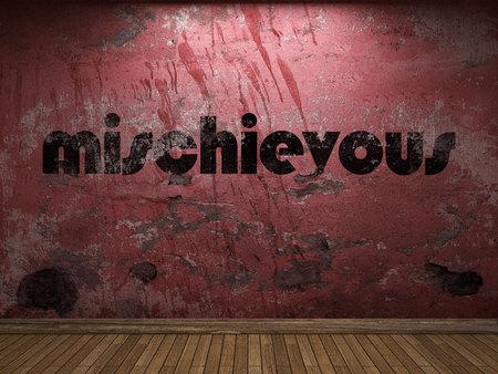 mischievous: mischievous word on red wall Stock Photo