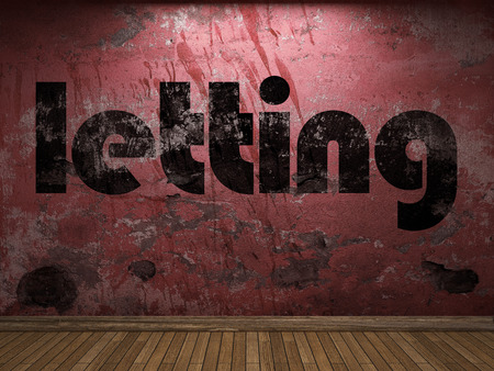 letting: letting word on red wall