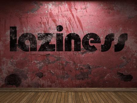 laziness: laziness word on red wall
