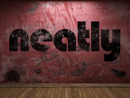 neatly: neatly word on red wall
