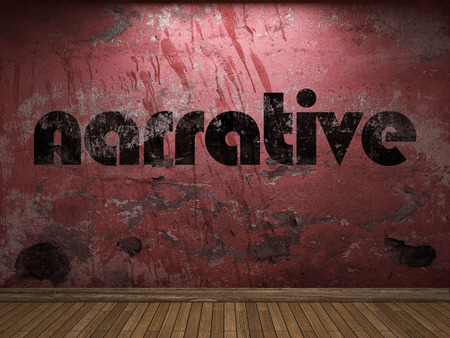 narrative: narrative word on red wall