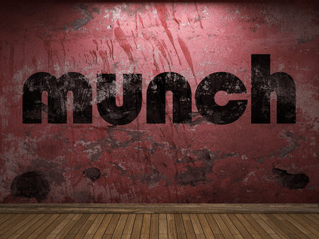 munch: munch word on red wall Stock Photo