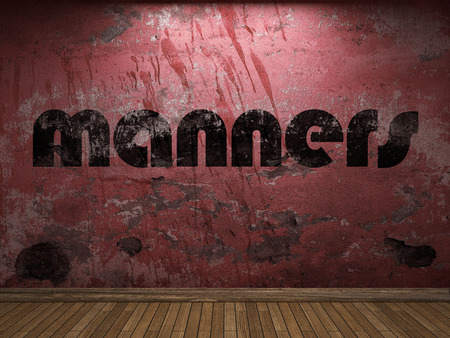 manners: manners word on red wall Stock Photo
