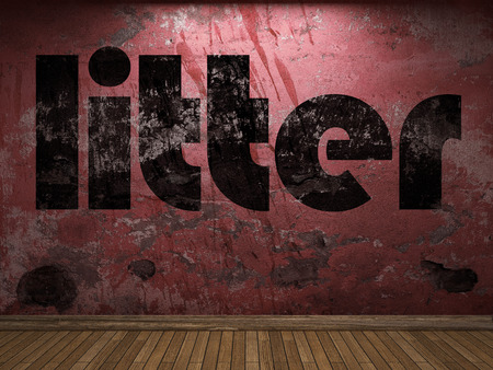 litter: litter word on red wall Stock Photo