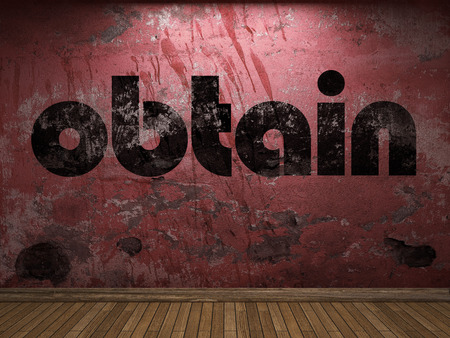 obtain: obtain word on red wall