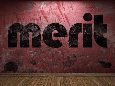 merit word on red wall Stock Photo