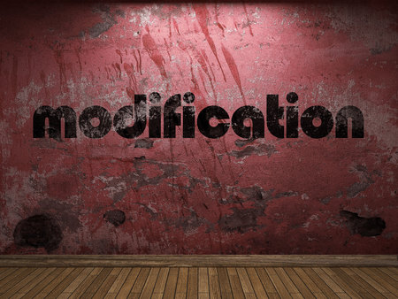 modification: modification word on red wall