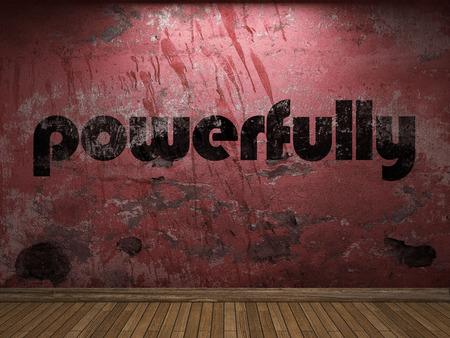 powerfully: powerfully word on red wall Stock Photo