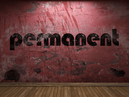 permanent: permanent word on red wall