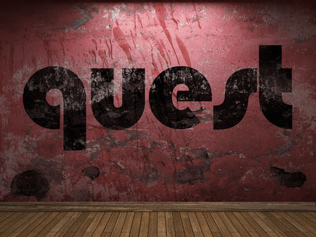 quest: quest word on red wall