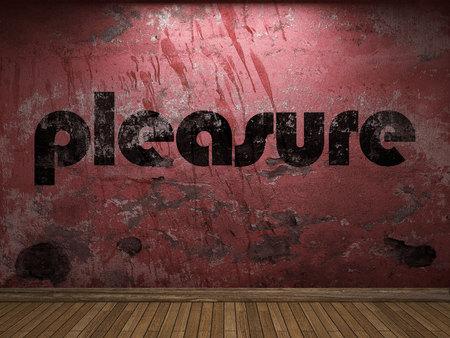 pleasure: pleasure word on red wall Stock Photo