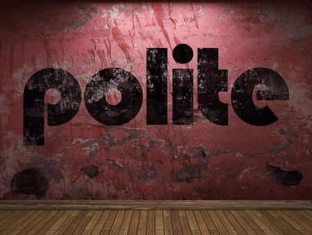 polite: polite word on red wall