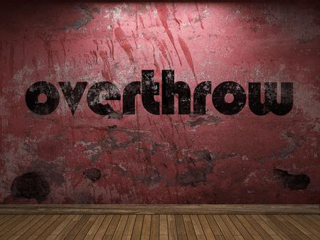 overthrow: overthrow word on red wall Stock Photo