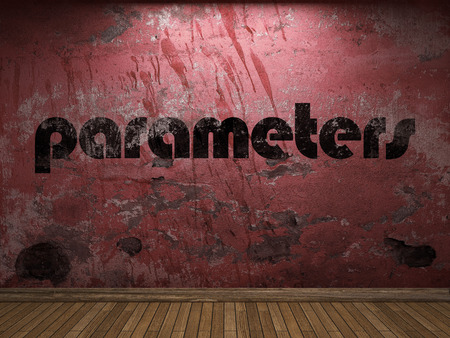 parameters: parameters word on red wall