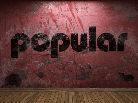 popular: popular word on red wall Stock Photo