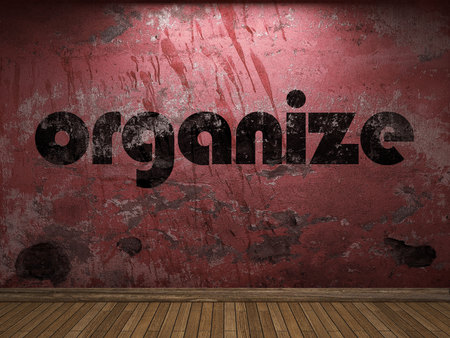 organize: organize word on red wall Stock Photo