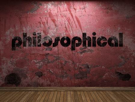 philosophical: philosophical word on red wall Stock Photo