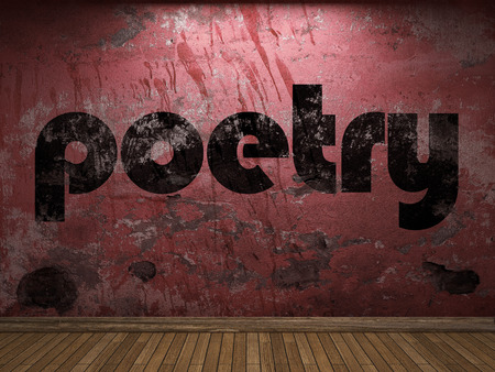 poetry word on red wall