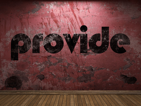 provide: provide word on red wall