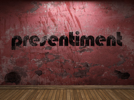 presentiment: presentiment word on red wall Stock Photo